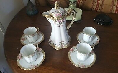 Nippon Chocolate Pot, Hand-Painted w/4 Matching Cups & Saucers