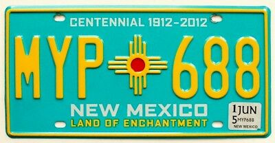 New Mexico Turquoise Centennial License Plate, MYP 688, Zia Indian Sun Symbol