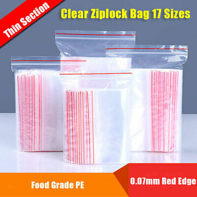 100x Resealable Clear Ziplock Bag Flat Grip Sealing Plastic Pouch Small-Large