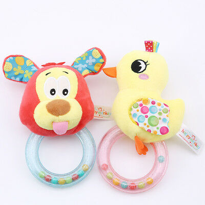 Baby Rattle Soft Plush Stuffed Cartoon Animal Shaker Toy Rattle Clear Ring Z