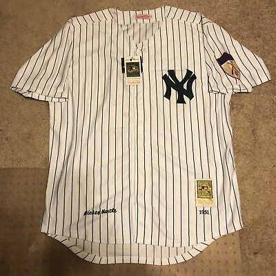 NEW Mitchell   Ness Yankees Mickey Mantle  7 Size 56 1951 Cooperstown Jersey ac2150b70c4