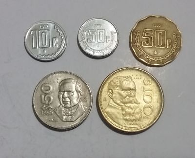 Mexico 5 different Mexican coins 10 centavos up to 100 Pesos