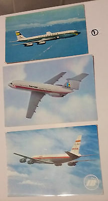 3 old Airline postcards Boeing Lufthansa, Tarom Romania & Spain's Iberia Airline
