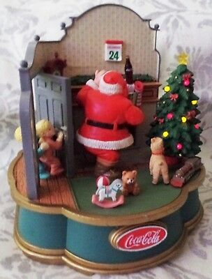 VINTAGE~Coca-Cola 1993 Mechanical Music Box - Santa and the Children~Lights Up