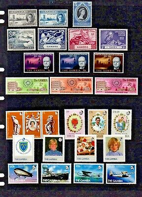 Gambia. 1946 - 1984  NINE great sets of mint stamps. Details below.