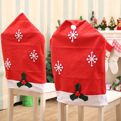c8f250c578158 Santa Red Hat Chair Covers Christmas Decorations Dinner Chair Xmas Cap Sets
