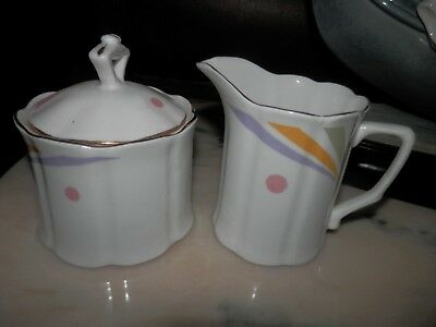 Crown Ceramics Ltd India Fine Bone China Creamer & Covered Sugar Bowl