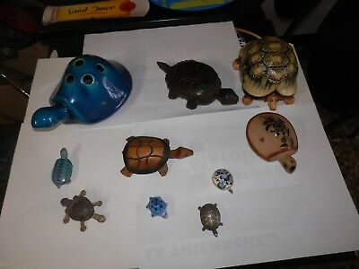 Lot de 10 tortues déco pierre bois metal  pocelaine  etc