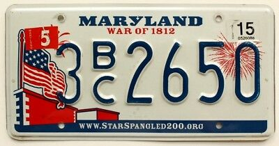 """Colorful Maryland """"War of 1812"""" License Plate, 2650, US Flag Graphic, Fireworks"""