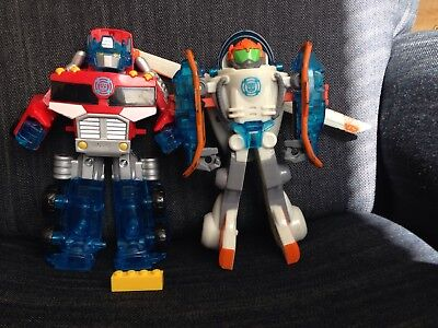 Playskool Rescue Bots Blades Optimus Power Up And Energize Lot 2 Figures