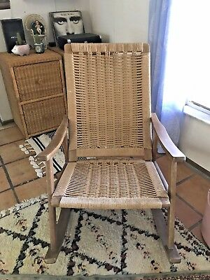Pleasant Vintage Mid Century Modern Hans Wegner Rope Rocking Chair Creativecarmelina Interior Chair Design Creativecarmelinacom