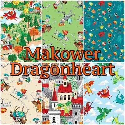Makower DRAGON HEART Knight Castle Fairytale 100% Cotton Patchwork Craft Fabric