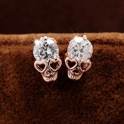 Rose gold alloy earring allergy skull earrings The new zircon earrings HOT