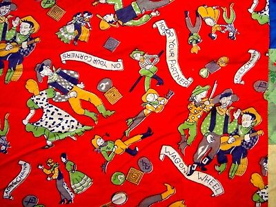 Vintage 30's 40's Crazy quilt cover Western fabric quilt top
