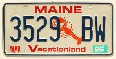 """Maine 1996 """"Lobster"""" License Plate, 23529 BW"""