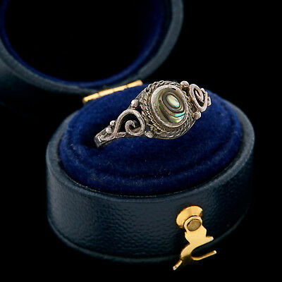 Antique Vintage Art Deco Sterling Silver Abalone Shell Womens Band Ring Sz 5.25