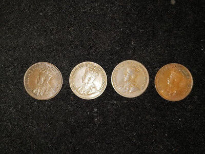 1921, 1922, 1923, 1924 Canada One Cent Coins