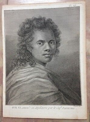 TAHITI PORTRAIT OF OMAI 1774 JAMES COOK XVIIIe CENTURY ANTIQUE ENGRAVED VIEW
