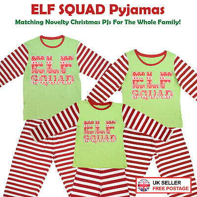 Elf Squad Dress-Up PJ (Text) Matching Family Christmas Pyjamas Xmas Mum Dad Kid
