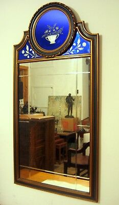 C. 1920 Antique Wall Mirror Reverse Cobalt Blue Cut to Clear Top Panel
