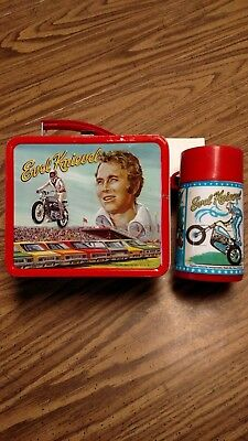 """Evel Knievel """" Vintage """" 1974 Lunch Box With Thermos Very Nice"""