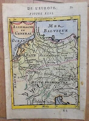Germany 1683 Alain Manesson Mallet Antique Copper Engraved Map In Colors