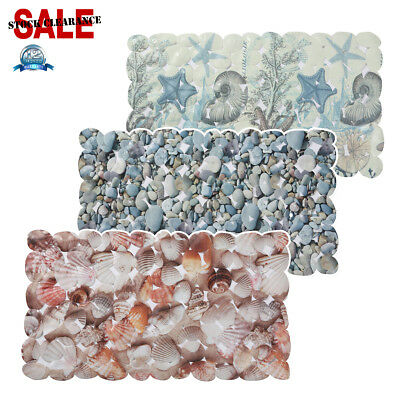PVC Pebbles Shell Starfish Anti Non Slip Strong Suction  Bath Shower Mat Safety