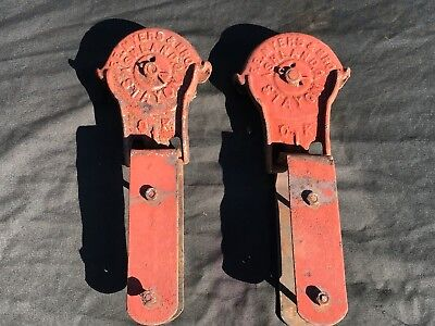 Pair Of Antique F E Myers & Bros Stay On Barn Door Rollers Hangers Ashland Oh