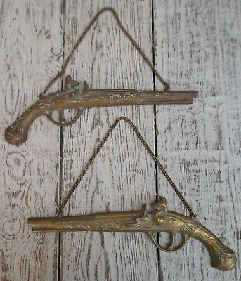Pair Of Vintage Ornamental Brass Pistols On Chains, Wall Hanging Half Pistols