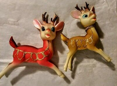 "Vintage Soft Plastic Rubber Xmas Reindeers 4.5"" & 5"" Japan Poseable Swivel Heads"