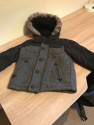 Boys hooded winter coat fur lined age 12-18 months