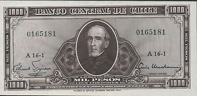 Chile 1 Esc./1000 Pesos  ND.1960 P129 Series  A 16-1  Uncirculated Banknote  L19