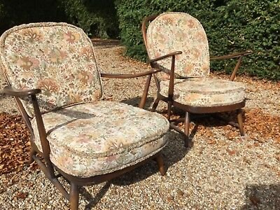 Pair of Vintage Ercol  Armchairs with Original Cushions 1960's