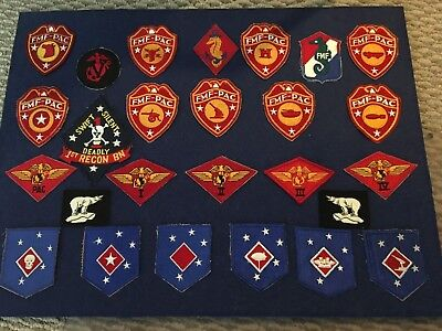 WWII USMC Patches - Lot Of 26, Vintage, US Marine Corp, FMF-PAC, RECON, Military