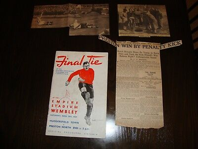 1938 FA CUP FINAL HUDDERSFIELD TOWN v PRESTON AUTOGRAPHED + CUTTINGS