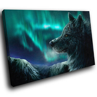 A181 Northern Light Winter Wolf Funky Animal Canvas Wall Art Large Picture Print