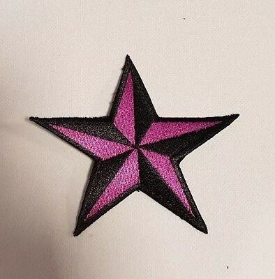 Stern Schwarz lila Rockabilly Tattoo Aufnäher Punk Patch Nautic Star old school