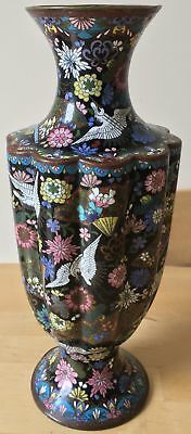 LARGE antique CHINESE CLOISONNE VASE with STORKS & FLOWERS BLOSSOM lamp base