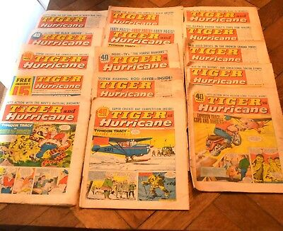 15 Vintage comics 1966 1967 Tiger and Hurricane issues fair to good condition