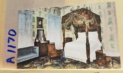 Hand-colored postcard, Bedroom of Andrew Jackson, The Hermitage, Nashville TN