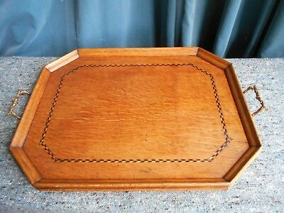 Antique Oak Butlers Tray with Decorative Inlaid  Banding and Brass handles