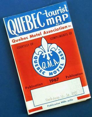 1967 QUEBEC CITY tourist map—motels restaurants—real French Canadian hospitality