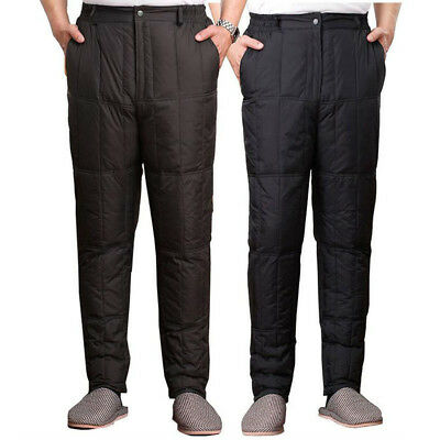 Winter warm Mens Quilted 90% white duck Down Trousers Casual Thicken Cargo pants