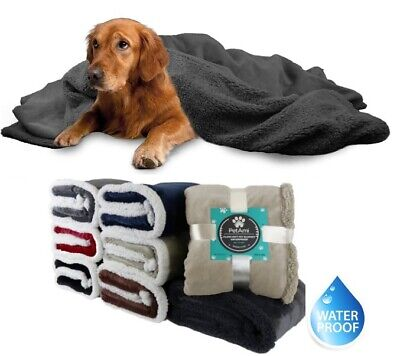 100% Waterproof Dog Blanket for Bed Couch Furniture Puppy Large Dog Sherpa Throw