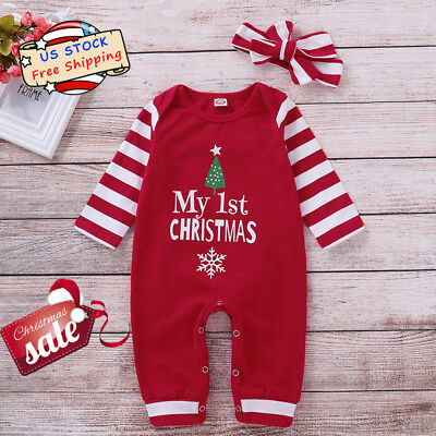 Newborn Baby Boys Girls Striped My 1st Christmas Jumpsuit Romper Xmas Outfit Set