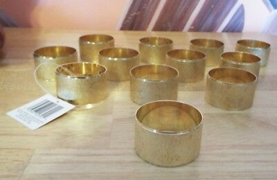 Set Of 12 Kemp & Beatley Florentine Brushed Gold Napkin Rings