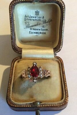 Gorgeous Antique Victorian 12K ROSE Gold GARNET SEED PEARL RING