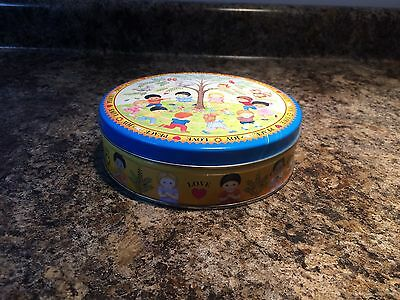 Peace Joy Love Metal Tin Canister Container Children Around The World