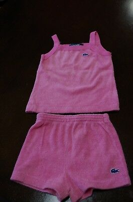 Vintage Girls 2 Piece Size 4T Lacoste Izod Pink Shorts Tank Top Set Terry Cloth