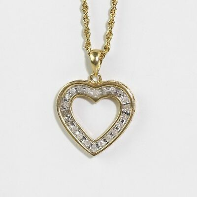 PRETTY 10k YELLOW GOLD ROPE CHAIN & ENGRAVED HOLLOW 1/6ct DIAMONDS HEART PENDANT